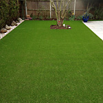 Artificial grass Brett granite paving