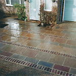 Indian stone driveway with Belgium reclaimed setts