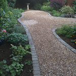 Gravel path with sett edging and borders