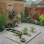 Town house patio with water feature