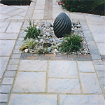 Water feature stone market paving